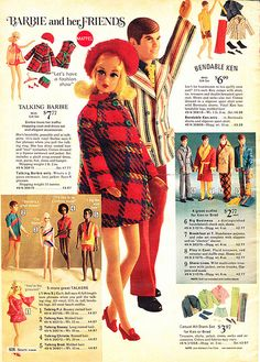 Talking Barbie and Friends and Bendable Legs Ken from the Sears Christmas Wish Book Catalog, 1975 Vintage Barbie Kleidung, Vintage Barbie Clothes, Vintage Dolls, Vintage Ads, Doll Clothes, Play Barbie, Barbie And Ken, Barbie Stuff, 1970s Toys