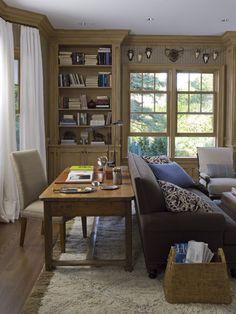 Den ideas: Desk behind couch, magazine basket, color scheme