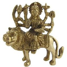 Goddess Durga brass statue sitting on lion 8.89 cm x 8.89 cm x 2.54 cm