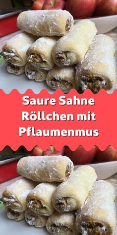 Saure Sahne Röllchen mit Pflaumenmus You can fill these rolls with jam plum jam nuts poppy seeds Nutella chocolate or even with coconut flakes. The dough is made from sour cream, it does not crack and is tender and crispy after baking. Berry Smoothie Recipe, Easy Smoothie Recipes, Easy Healthy Recipes, Healthy Snacks, Snack Recipes, Easy Meals, Coconut Milk Smoothie, Homemade Frappuccino, Plum Jam