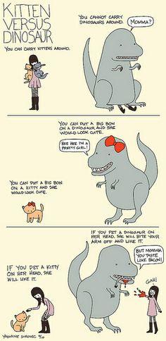 kitten vs dinosaur by aprintaday, via Flickr