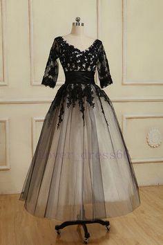 Stock Black Tea length Lace Tulle A-line Wedding dress Bridal Gown SZ 6/8+++20