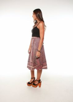 Vintage 70s INDIAN COTTON Wrap Skirt S M L by GypsyStardustDesign