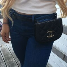 Vintage Black Coco Fanny Pack Vintage/ PRE Loved Coco Fanny Pack. Size XS. Waist size on the model is 25. Please note the chain has been detached from the leather holder, but other than that, it's super cute, please refer to pics. Bags Mini Bags