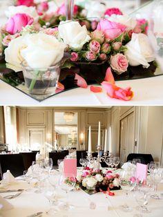 Tischdeko Rosen Hochzeit - pink and orange. love it!