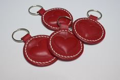 Red heart keychain.Valentines gift. Leather Key Holder, Leather Keychain, Leather Earrings, Simple Gifts, Easy Gifts, Little Star, Key Rings, Keychains, Valentine Gifts