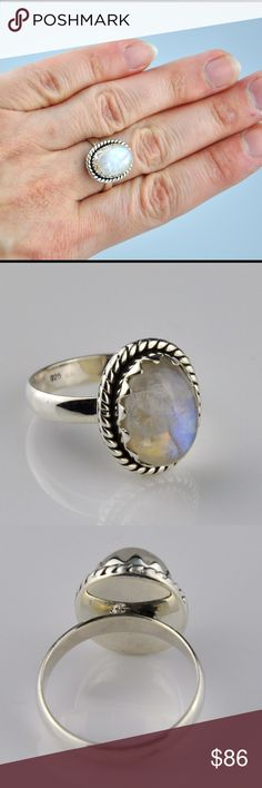 🚨PRICE DROP🚨Rainbow Moonstone .925 Sterling Ring The moonstone is actually a variety of Labradorite which is lighter in color and exhibits an adularescence, or optical effect of light that floats about the stone, like a movable cloud making it my most favorite stone. Stone measures 17Mm x 14mm. Genuine .925 Sterling silver will tarnish without proper storage and care. NOTE: 100% natural stone so inclusions, cracking, veining etc may be present, NOT  a defect. Smoke free pet friendly home…