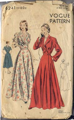Vintage 1940s Hostess Gown Pattern- I just bought