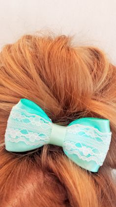 Pastel Mint and Lace Hair Bow Clip by TeensyThings on Etsy, $2.00