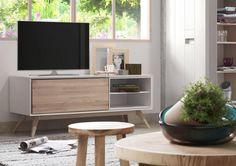 Quatre Wooden Tv Unit in White & Ash Tv Furniture, Furniture Styles, Furniture Design, Rack Tv, Muebles Living, Tv Cabinets, Tv Unit, Interior Modern, Buffets