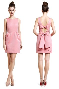 Pink dress with bow-tie. Love this dress for a summer wedding.