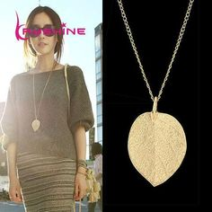Cheap Fashion Jewelry Maxi Necklace Gold-Color Chain Leaf Design Pendant Necklaces & Pendants 2016 New For Women collier femme