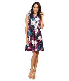 Adrianna Papell Lined Renaissance Printed Suba Fit and Flare Dress