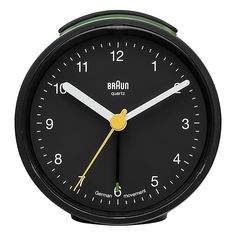 The Braun classic travel alarm clock has an easy to read dial with the iconic yellow second hand that has become synonymous with Braun's award winning design. The clean simplistic look and ease of use makes this an outstanding Braun clock. Analog Alarm Clock, Travel Alarm Clock, Alarm Clock Design, Classic Clocks, Black Clocks, Home Goods Store, Argos, Night Light, Displays