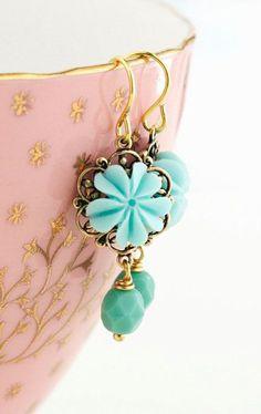 Aqua Earrings Flower Earrings Pale Aqua Pretty