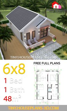 Studio House Plans Gable Roof The House has:-Car Parking and garden-Living room,-Dining Bedroom, 1 bathroom