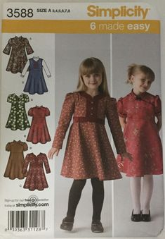 Simplicity Girls Toddlers or Jumper Sewing Pattern 3588 Size 3 4 5 6 7 8 Uncut UC Childrens Sewing Patterns, Simplicity Sewing Patterns, Clothing Patterns, Sewing Ideas, Girls Dresses Sewing, Little Girl Dresses, Sewing Clothes, Simple Dresses, Pretty Dresses