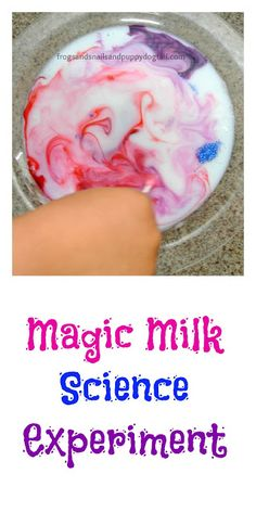 Fun milk science experiment for kindergarten. Use a dropper to develop fine motor skills.