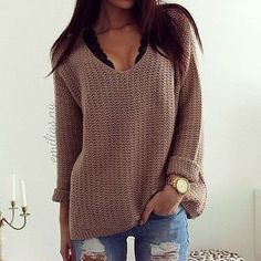 Plain Hollow-out V-neck Long Sleeve Loose Vintage Casual Pullover Sweater. -Coffee Plain Hollow-out V-neck Long Sleeve Loose Vintage Casual Pullover Sweater. Mode Outfits, Fall Outfits, Fashion Outfits, Womens Fashion, Teen Fashion, Fashion Trends, Fashion Ideas, Latest Fashion, Fashion 2016