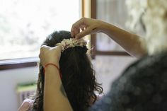 Tiara de novia de flores preservadas