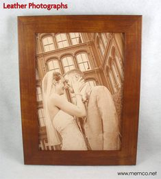 Leather Anniversary Gift - LEATHER PHOTOGRAPH Engraved in Real Leather - Wedding, Third Anniversary or Family Photos Engraved into Leather