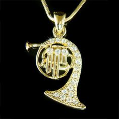 Swarovski Crystal Gold Plated Brass FRENCH HORN trumpet cornet charm Pendant Music Musical Instrument Necklace Musician Christmas Gift New. $35.00, via Etsy.