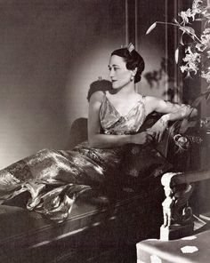 Wallis Simpson, Duchess of Windsor wearing the Cartier tiara made in 1936. It was stolen while visiting the Dudleys. It was made of diamonds.
