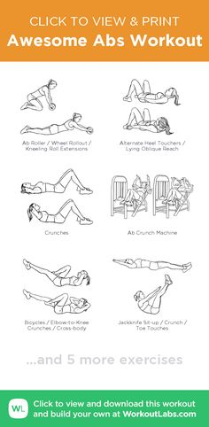 Awesome Abs Workout – click to view and print this illustrated exercise plan created with #WorkoutLabsFit