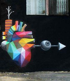 Les créations de l'espagnol Okuda, un artiste multi-facettes à l'aise dans le street art ou le land art comme sur toile ou en galeries ou il réalise ses installations. Des créations pleines de contrastes, entre courbes et formes géométriques, entre monochrome et explosion de couleurs. #ufunk