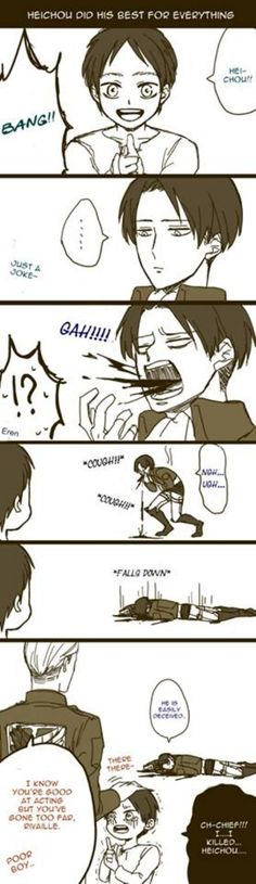 I think I would die if this happened. Either because it's so cute or it would be real. There is rarely sarcasm in Attack on Titan. Unless it's Levi :D