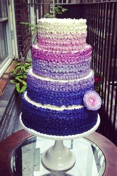 purple into royal blue ombre ruffle cake (no white at all, no flower and top with green layer)