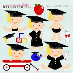 Adorable set of 10 graduation graphics.  Perfect for an end of year pre-school event.