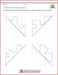 Line symmetry sheet with horizontal, vertical and diagonal mirror ...