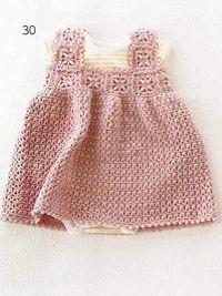 Vestido del bebé rosado de lujo patrón de crochet libre