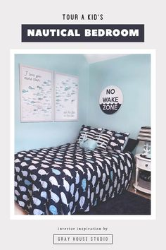 Take a tour of a cheerful nautical kid's bedroom featuring whales, anchors, a no wake zone sign,  whimsical watercolor fish prints and more!
