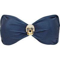 Blue diamante skull bandeau bikini top
