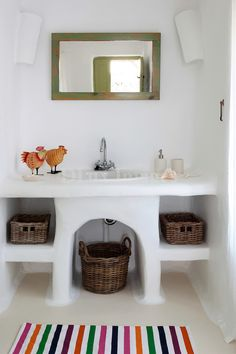 traditional cycladic bathroom worktop
