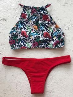 Flirty Floral Halter Bikini Set