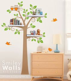 The Shelving Tree Decal measures 59 wide by 95 high.  Please see the items second picture for the dimensions.    SHELVES:  -There are 4 locations