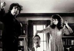 Tim Burton with Geena Davis during the making of Beetlejuice in 1988