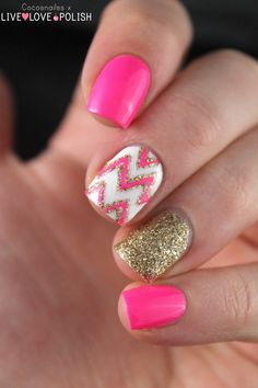 How to succeed in your manicure? - My Nails Pink Nail Art, Cute Nail Art, Cute Nails, Pink Gold Nails, Trendy Nails, Simple Nail Art Designs, Cute Nail Designs, Nagellack Design, Chevron Nails