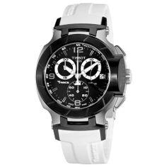 Tissot Men's T0484172705705 T-Race Black Chronograph Dial White Rubber Strap Watch Tissot. $520.00. White rubber strap; Water-resistant to 100 m (330 feet); Quartz movement; Black chronograph dial; Stainless steel case