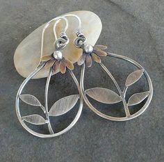 Rustic- Handmade- OOAK- Artisan Jewelry- Daisy Earrings- Sterling silver- Brass-Mixed Metal- Earrings.