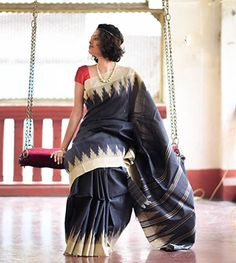 Silk Sarees - Tussar- Slate With Beige Kumbha And Vertical Lines On The Aanchal By Suta - PC - 15770 - Thumbnail
