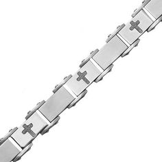 Detailed with alternating diamond-cut cross insets, this handsome men's bracelet makes a statement. Metal: Stainless steelClosure: BoxLength: photos are enlarged to show detail. Wholesale Body Jewelry, Bracelet Making, Diamond Cuts, Fine Jewelry, Handsome, Stainless Steel, Detail, Bracelets, Photos