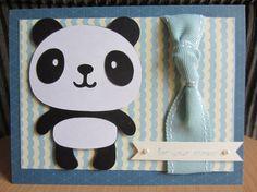 Good Panda Baby Shower Card Die Cut Paper Piecing Handmade Hand Stamped