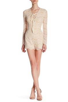 Romeo & Juliet Couture Woven Long Sleeve Lace Romper