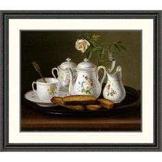 Global Gallery 'Still Life of Porcelain and Biscuits' by George Forster Framed Painting Print Size: