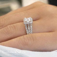 Gabriel & Co - 14k White Gold Princess Cut Halo Engagement Ring.