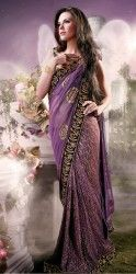 Designer Purple Colour Faux Georgette Saree with matching blouse piece at $108.24